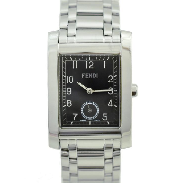 【中古】フェンディ メンズ腕時計 クオーツ ステンレススチール ブラック文字盤 7000G FENDI [送料無料]