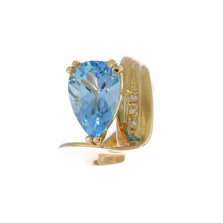 送料無料 中古 美品 人気ブランド多数対象 ジュエリー 女性 指輪 ダイヤ 雫 雫モチーフのブルートパーズが印象的なリングです 11号 V字 ペアシェイプ ブルートパーズ レディース リング K18イエローゴールド ダイヤモンド 2020A/W新作送料無料