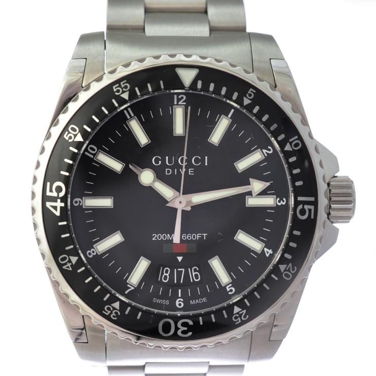 【中古】グッチ ダイブ メンズ腕時計 クオーツ ステンレススチール 文字盤ブラック 136.3 YA136301 GUCCI [送料無料]