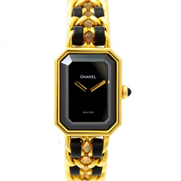 【中古】シャネル レディース腕時計 プルミエール L H0001 GP×レザー 文字盤黒 クオーツ CHANEL [送料無料]