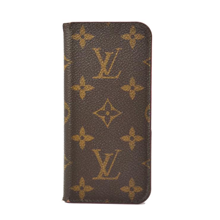 【中古】ルイヴィトン iPhoneケース iPhone7フォリオ M61906 モノグラム ローズ 手帳型 スマホ LOUIS VUITTON [送料無料]