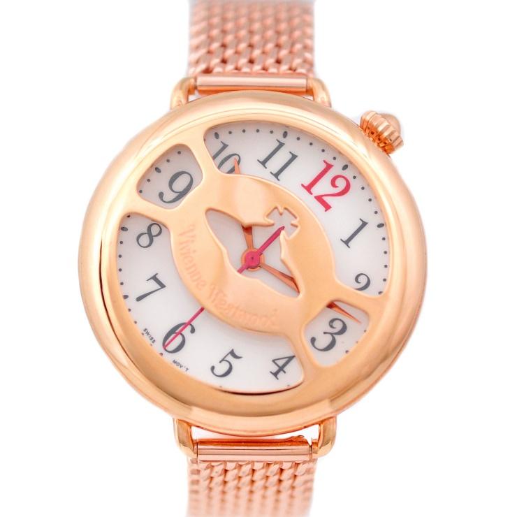【中古】ヴィヴィアンウエストウッド レディース腕時計 ケージウォッチ クオーツ ホワイト文字盤 ピンクゴールド VW-9734 Vivienne Westwood [送料無料][美品]