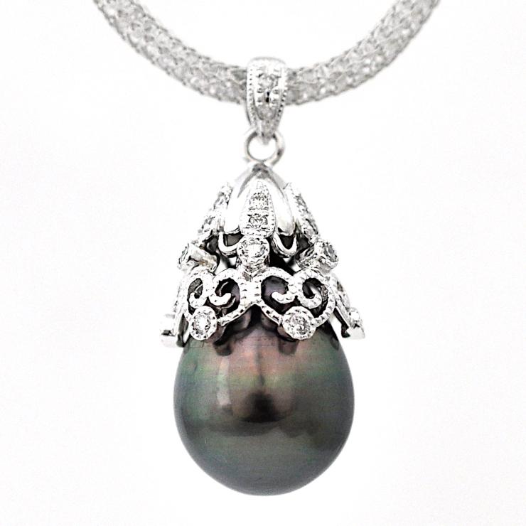 送料無料 中古 美品 デート ジュエリー 女性 贈答品 大粒 ネックレス ダイヤモンド ホワイトゴールド レディース ブラックパール 宝石 K18ホワイトゴールド ペンダント 国内在庫