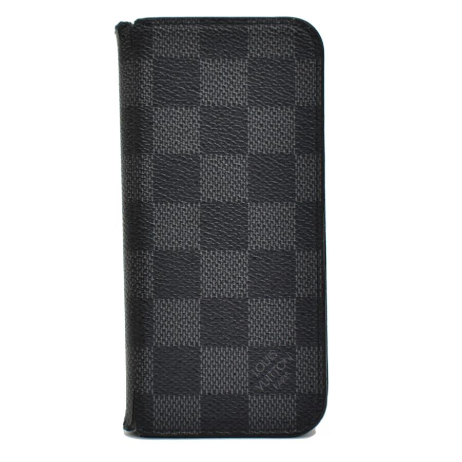 【キャッシュレス5%還元】【中古】ルイヴィトン iPhoneケース iPhone7フォリオ メンズ グラフィット グレー LOUIS VUITTON
