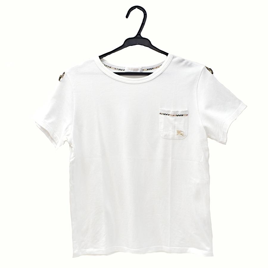 【キャッシュレス5%還元】【中古】バーバリーロンドン ワンポイントTシャツ キッズ 子供服 160A 白 ポケット 三陽商会 BURBERRY LONDON