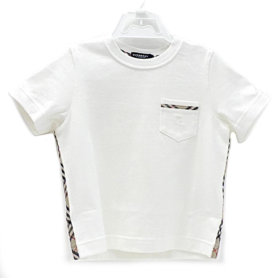 【キャッシュレス5%還元】【中古】バーバリーロンドン Tシャツ キッズ 半袖 チェック コットン ホワイト サイズ100A 三陽商会 BURBERRY LONDON