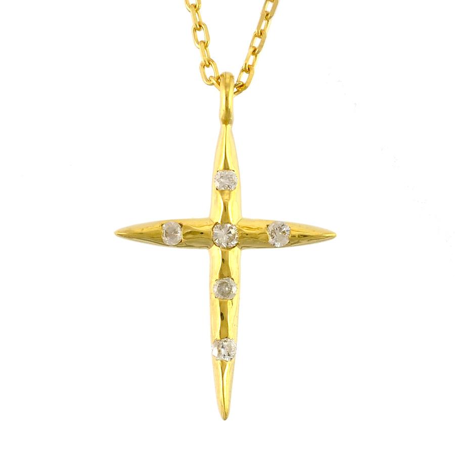 【キャッシュレス5%還元】【新品】ペンダント K18イエローゴールド ダイヤモンド 0.04ct クロスモチーフ レディースジュエリー【送料無料】