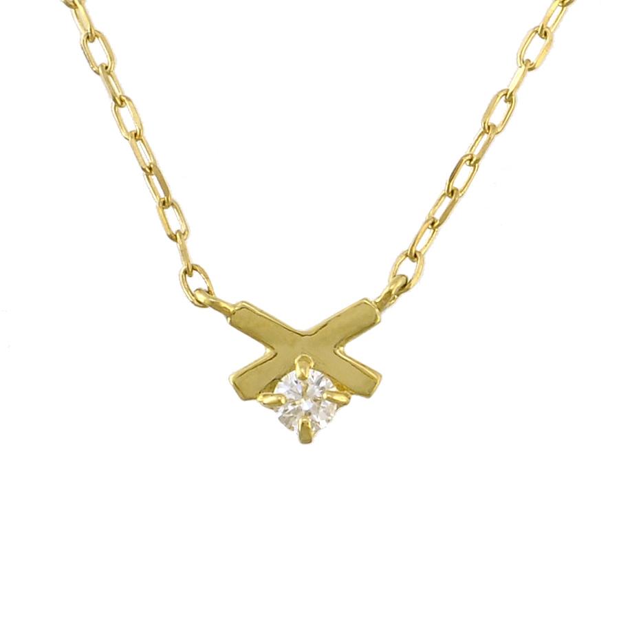 【キャッシュレス5%還元】【新品】ペンダント K18イエローゴールド ダイヤモンド 0.03ct クロスモチーフ 一粒ダイヤ レディースジュエリー【送料無料】