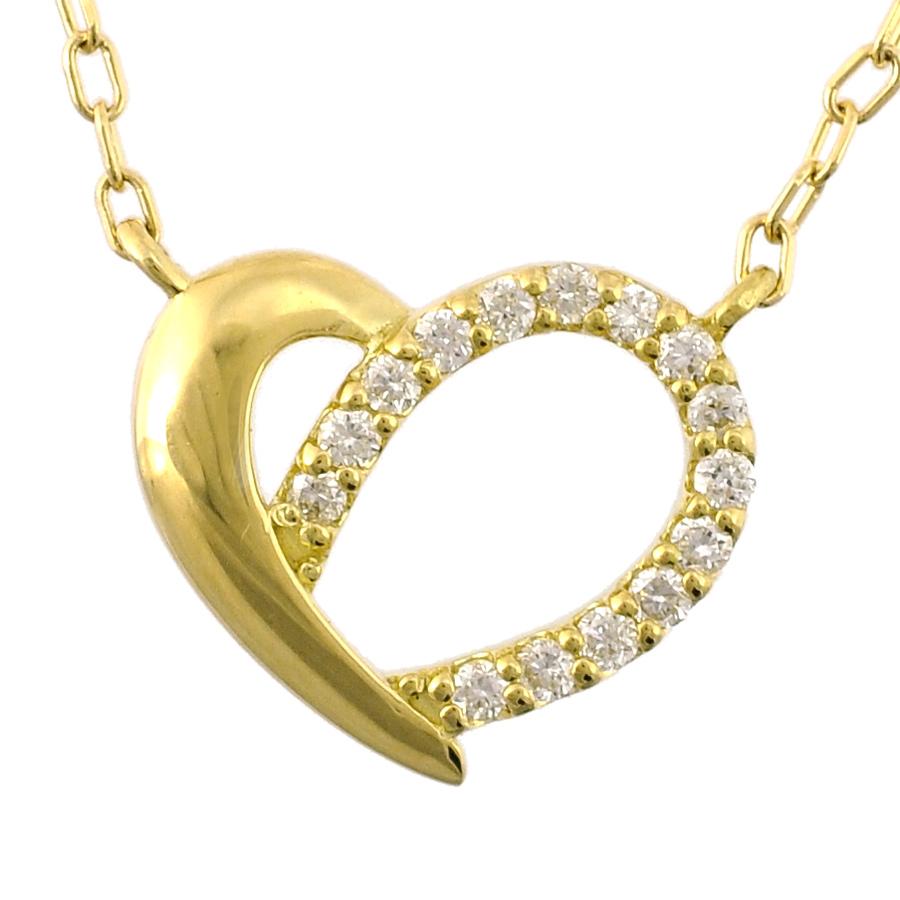 【キャッシュレス5%還元】【新品】ペンダント K18イエローゴールド ダイヤモンド 0.07ct オープンハートモチーフ レディースジュエリー【送料無料】