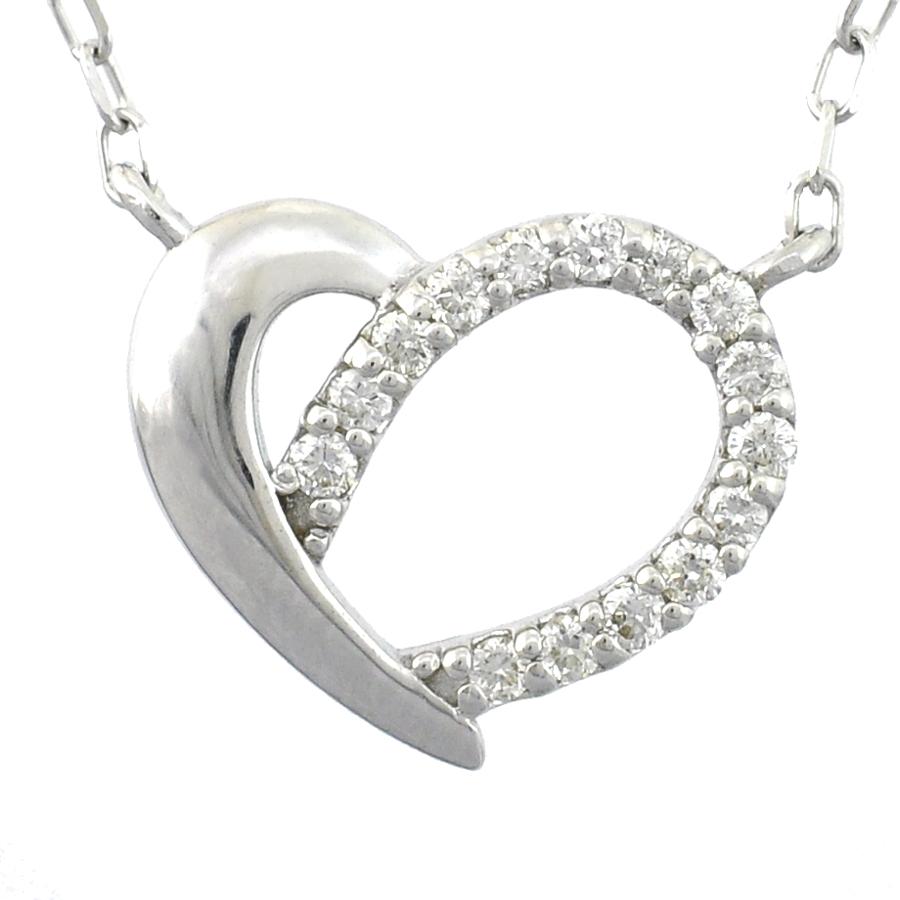 【キャッシュレス5%還元】【新品】ペンダント K18ホワイトゴールド ダイヤモンド 0.07ct オープンハートモチーフ レディースジュエリー【送料無料】