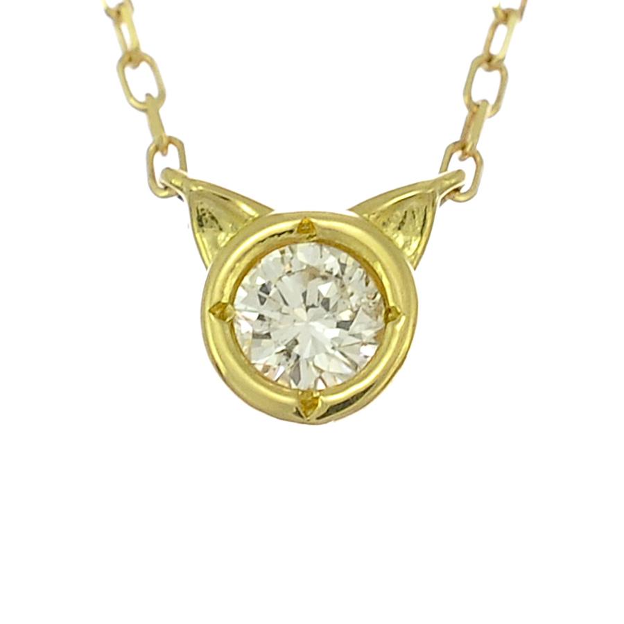 【キャッシュレス5%還元】【新品】ペンダント K18イエローゴールド ダイヤモンド 0.10ct 猫モチーフ 一粒ダイヤ レディースジュエリー【送料無料】