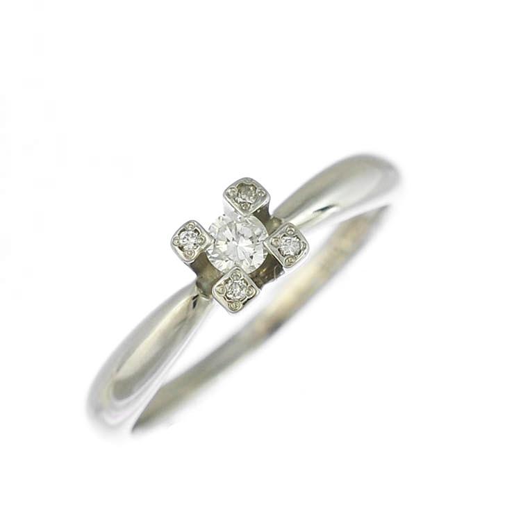 【キャッシュレス5%還元】リング プラチナ900 ダイヤモンド ラウンド フラワー Pt900 指輪 サイズ:11.5号 ジュエリー レディース 【中古】【送料無料】【美品】