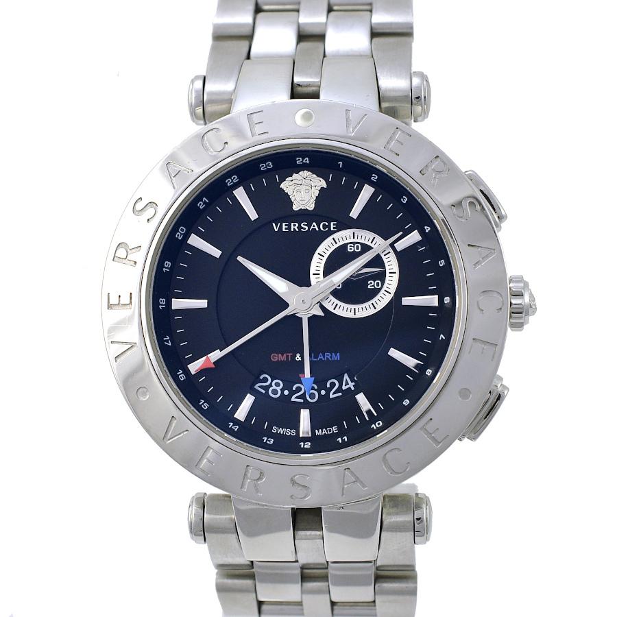 【キャッシュレス5%還元】【中古】ヴェルサーチ メンズ腕時計 Vレース GMT&アラーム 29G ダークネイビー文字盤 クオーツ VERSACE 【送料無料】