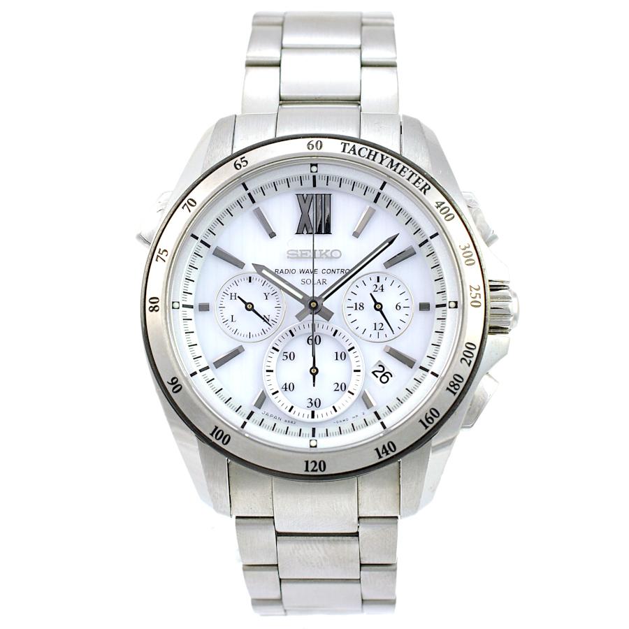 【キャッシュレス5%還元】【中古】セイコー ブライツ クロノグラフ メンズ 腕時計 SAGA149 電波ソーラー ステンレススチール 白文字盤 SEIKO 【送料無料】