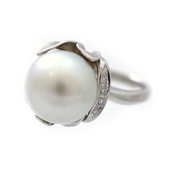 【キャッシュレス5%還元】リング Pt900 パール ダイヤモンド 0.05ct 指輪 18号 ジュエリー プラチナ 真珠  【中古】【送料無料】