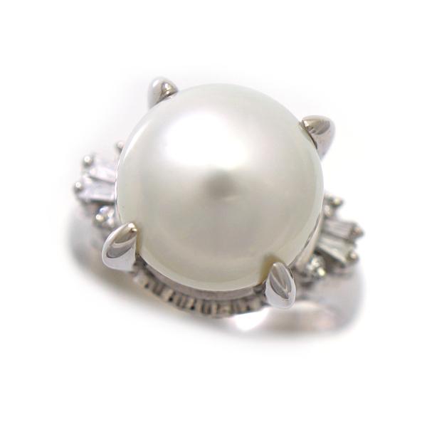 【キャッシュレス5%還元】リング Pt900 パール ダイヤモンド 0.17ct 指輪 12.5号 ジュエリー プラチナ 真珠  【中古】【送料無料】