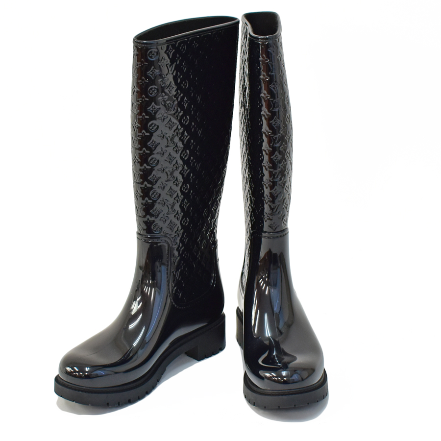【キャッシュレス5%還元】[中古]ルイヴィトン レインブーツ スプラッシュライン 40 ブラック レディース ブーツ 靴 LOUIS VUITTON [送料無料]