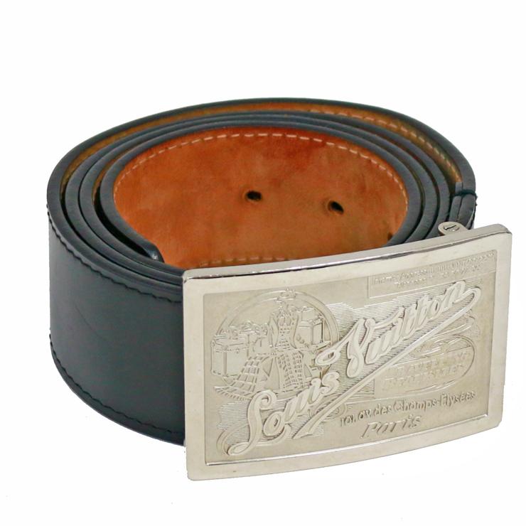 【中古】ルイヴィトン ベルト メンズ メンズ サンチュールジーンズ ブラック レザー ブラック LOUIS M6812 サイズ:100 40 LOUIS VUITTON[送料無料], ルーブルダール:1d52df6b --- officewill.xsrv.jp