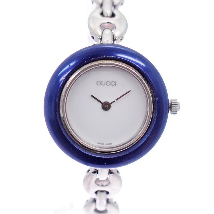【中古】グッチ レディース腕時計 チェンジベゼル クオーツ SS ホワイト文字盤 11 12.2L GUCCI [送料無料]