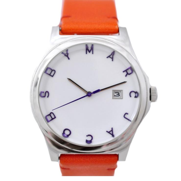 【キャッシュレス5%還元】【中古】マークバイマークジェイコブス レディース腕時計 ホワイト文字盤 クオーツ ステンレススチール×レザー MBM5017 MARC BY MARC JACOBS