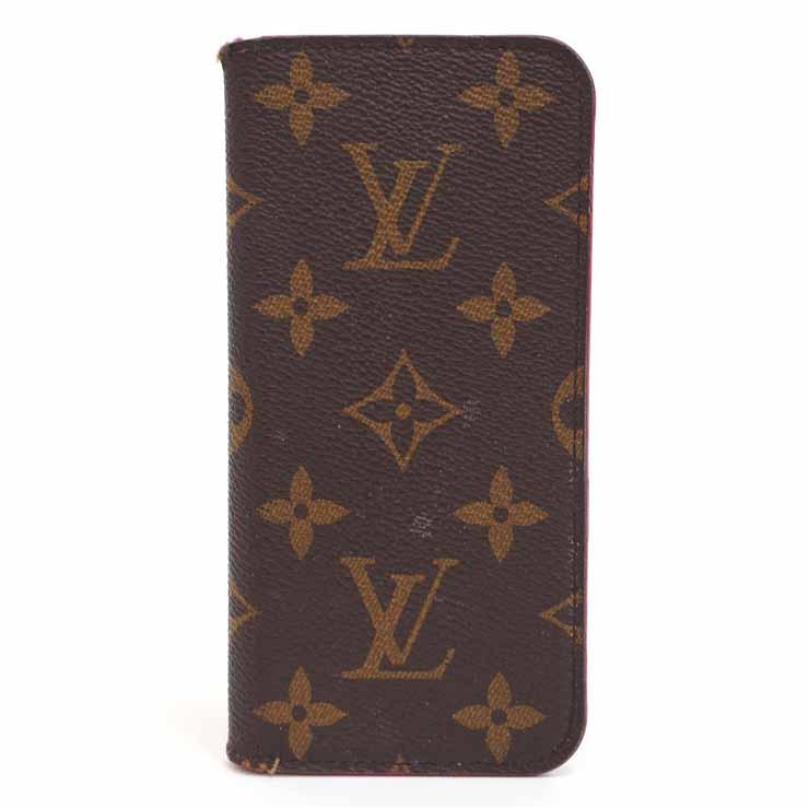 【中古】ルイヴィトン iPhoneケース iPhone7フォリオ M61906 モノグラム ブラウン×ローズ 手帳型 LOUIS VUITTON [送料無料]