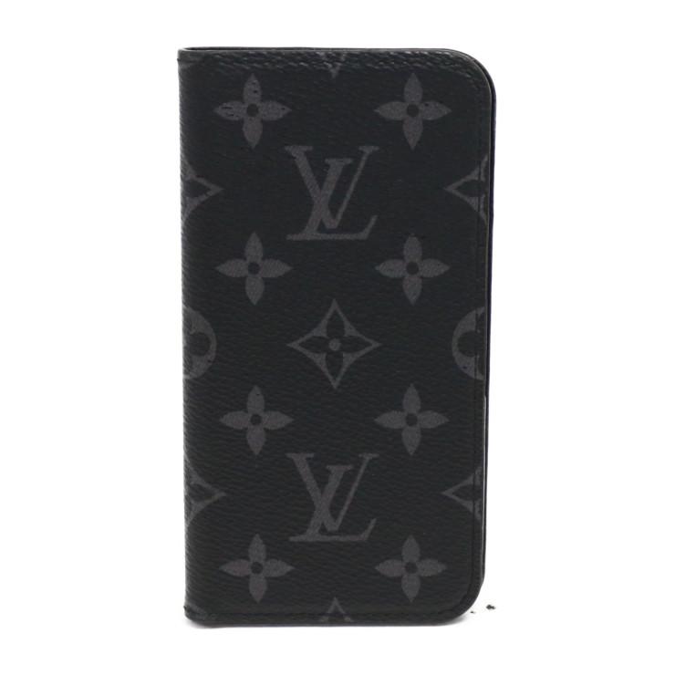 【中古】ルイヴィトン iPhoneケース iPhoneX iPhoneXsフォリオ メンズ ブラック エクリプス LOUIS VUITTON[送料無料]