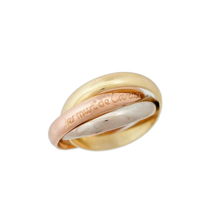 【中古】カルティエ 指輪 トリニティリング K18ホワイトゴールド K18ピンクゴールド K18イエローゴールド 750 サイズ11号 レディース Cartier[送料無料]