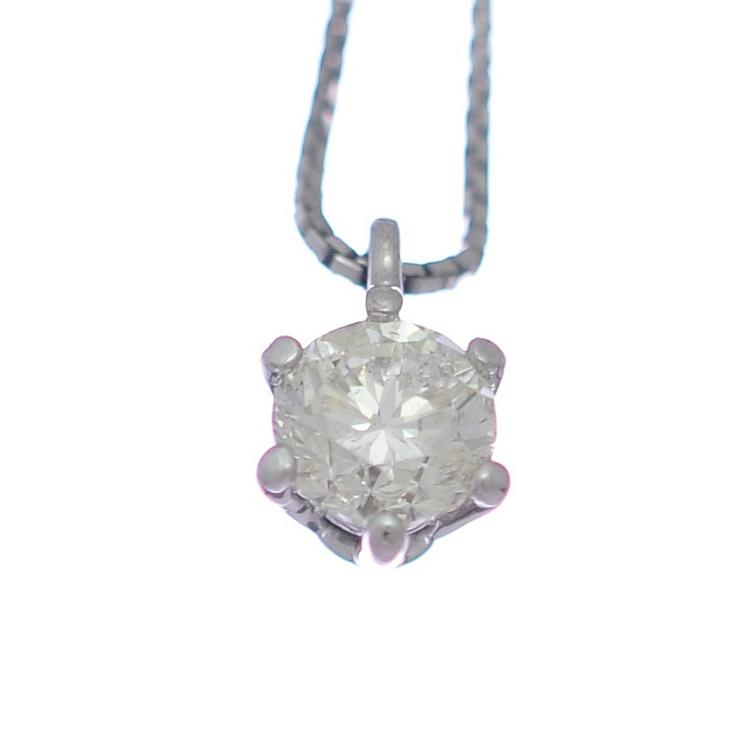 【中古】ジュエリーマキ ペンダント K18ホワイトゴールド ダイヤモンド 1粒 レディース ジュエリー Jewelry MAKI [送料無料][美品]