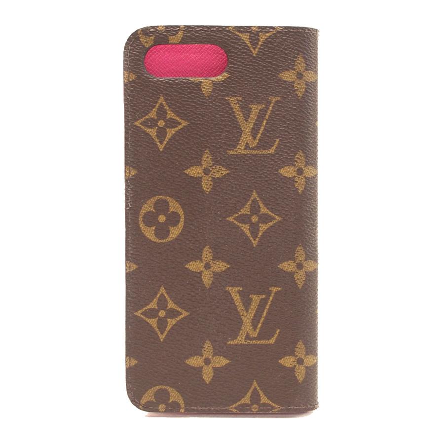 【キャッシュレス5%還元】[中古]ルイヴィトン iPhone8Plusフォリオ スマホケース M63401 モノグラム 手帳型 ブラウン×ローズ レディース LOUIS VUITTON Folio [送料無料]
