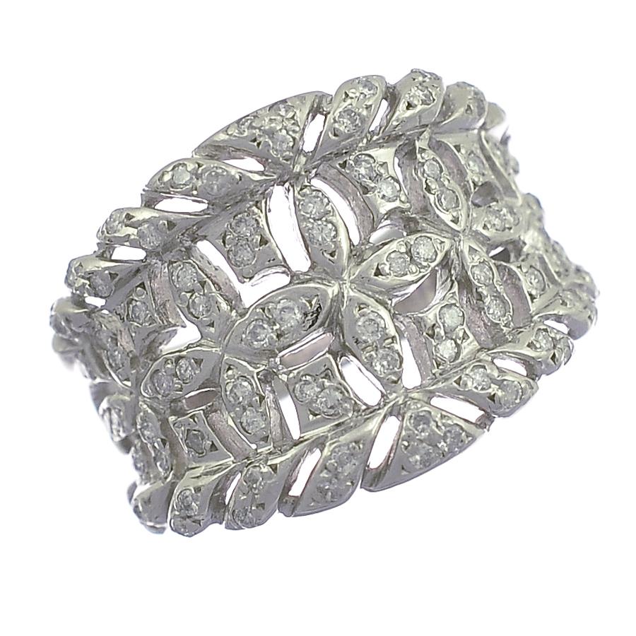 【キャッシュレス5%還元】[中古]リング プラチナ 900 ダイヤモンド 0.45ct 14号 フラワー レディース ジュエリー [送料無料]