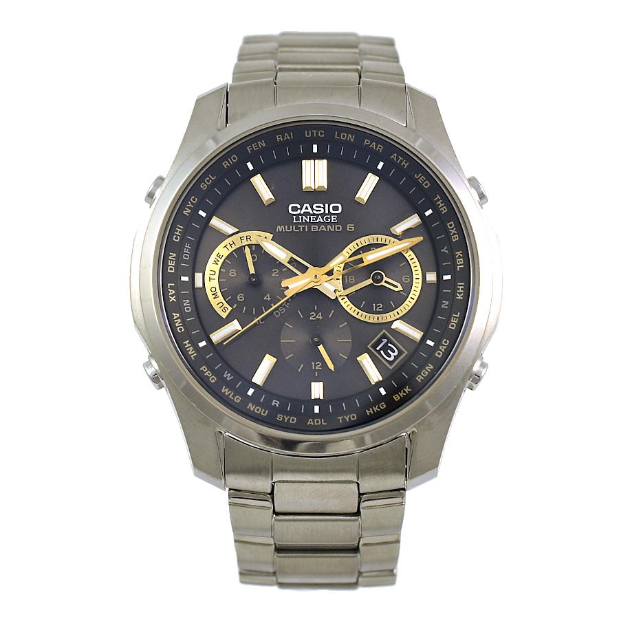 【キャッシュレス5%還元】[中古]カシオ LINEAGE 腕時計 LIW-M610TDS ブラック文字盤 ソーラー ステンレススチール クロノグラフ メンズ CASIO [送料無料]