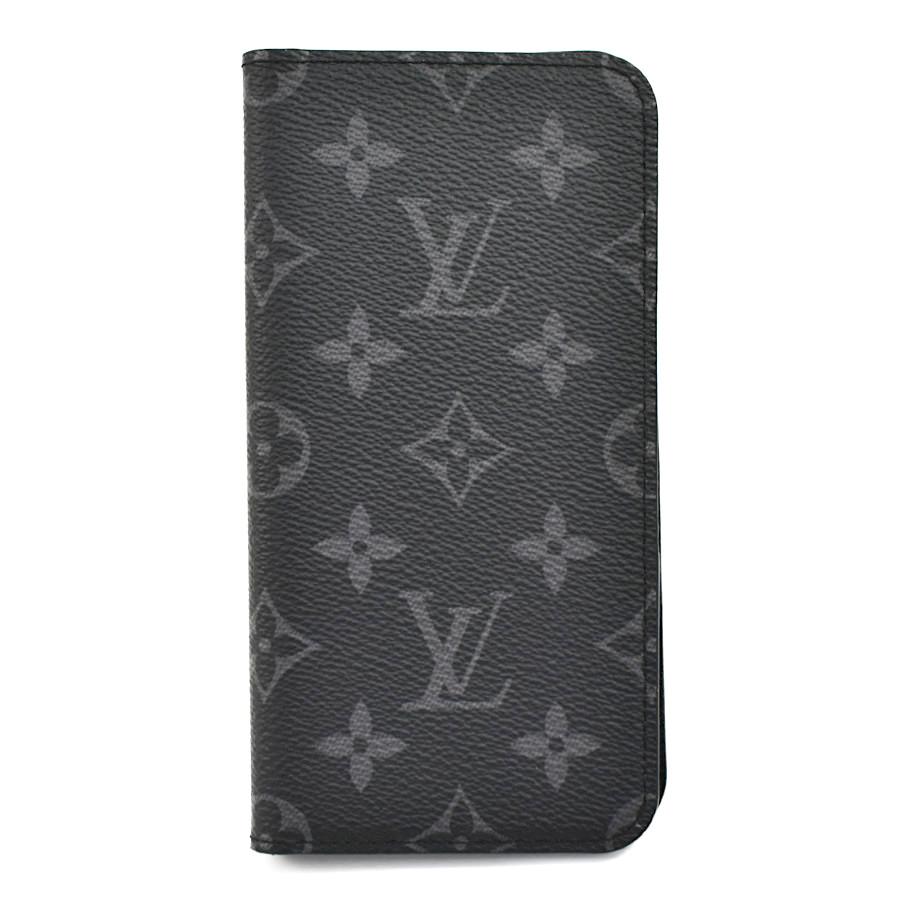 【キャッシュレス5%還元】[中古]ルイヴィトン フォリオ iPhoneXs・Maxケース M67484 モノグラムエクリプス ブラック メンズ LOUIS VUITTON Folio [送料無料]