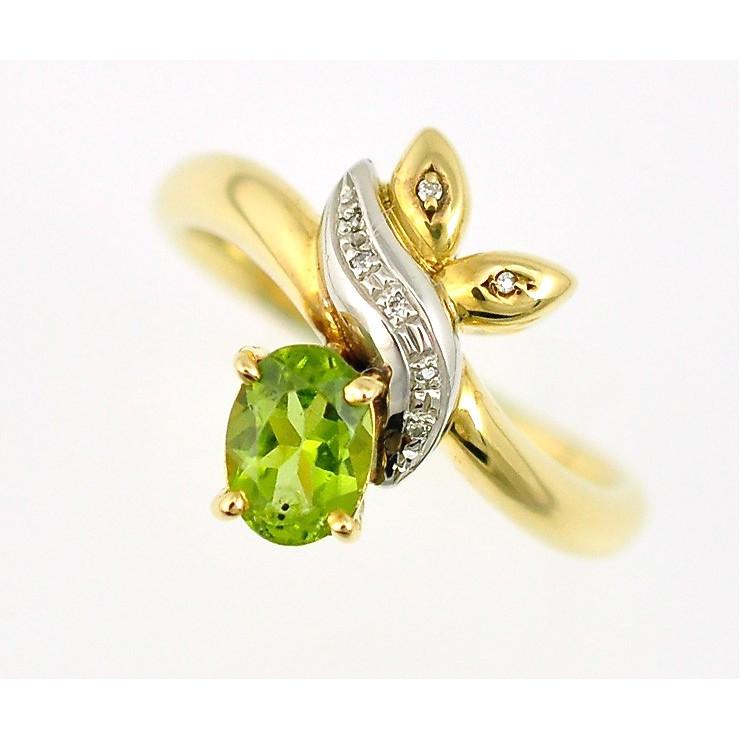 【中古】K18イエローゴールド プラチナ900 ペリドットリング ダイヤモンド 指輪 サイズ:17号[送料無料]