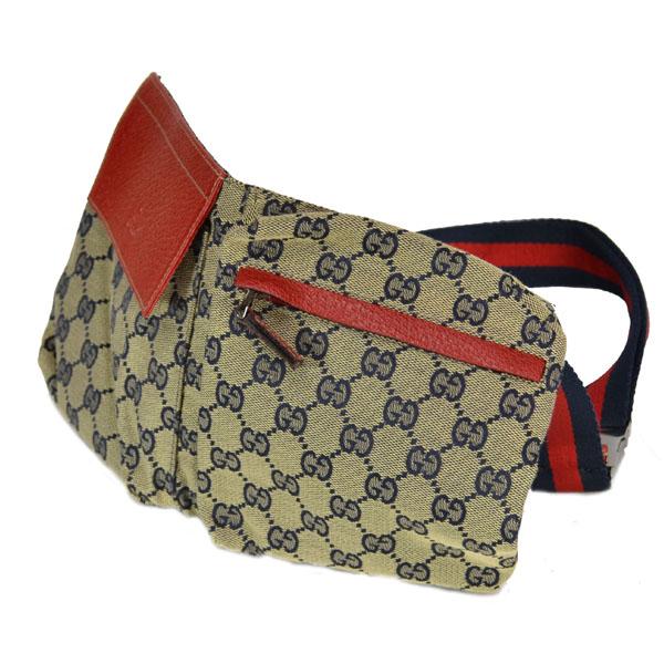 886c627a7e8b95 Gucci /GUCCI/GG canvas belt bags / 28566 red × dark blue waist bag ...