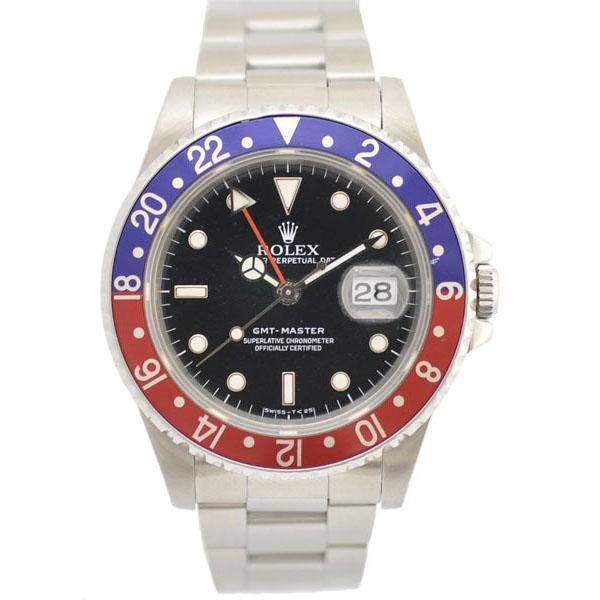 贅沢屋の ROLEX/ロレックス/GMTマスター/16700 L番 青/赤ベゼル ポリッシュ OH済 メンズ腕時計 【】【送料無料】, クスチョウ 21633d67