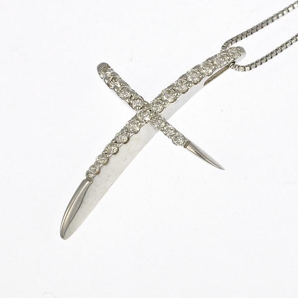 【キャッシュレス5%還元】K18ホワイトゴールド/ダイヤモンド/ペンダント 変形クロス 十字架 0.24ct ジュエリー 18金 K18WG【新品】【送料無料】