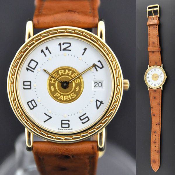 buy online 983d9 51906 ■ HERMES エルメス セリエ セリエK18 クオーツ 社外ベルト(オーストリッチ) レディース腕時計|ブランドリサイクルストアスマイル
