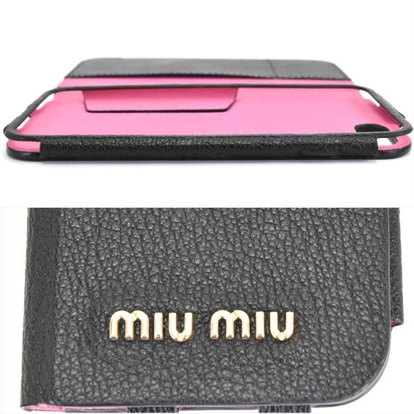 ミュウミュウ iPhone8 携帯ケース レディース マドラスレザー ブラック×ピンク 5ZH055 034 MIUMIU送料無料67gfby