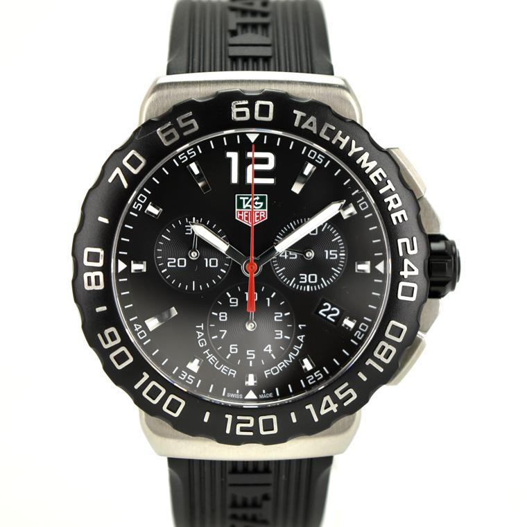 【中古】タグホイヤー フォーミュラ1クロノグラフ メンズ 腕時計 クオーツ ステンレススチール×ラバー 黒文字盤 CAU1110.FT6024 TAGHEUER [送料無料][美品]