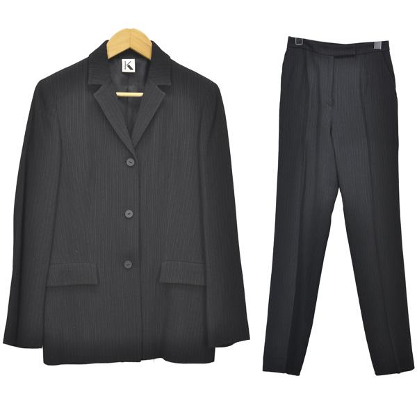K OF KRIZIA/ケイオブクリツィア/レディース/パンツスーツ/ブラック×ホワイト ストライプ シングルボタン セットアップ ウール サイズ:40 【中古】