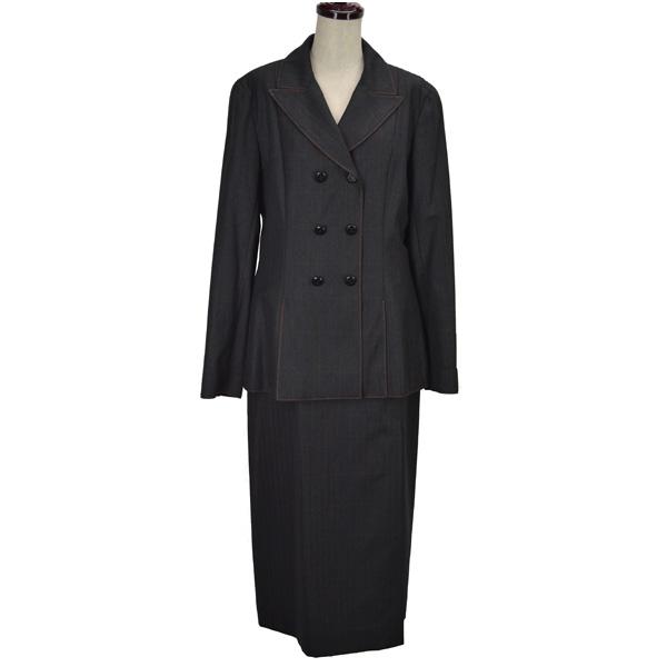 シャネル ツイードスカートスーツ グレー チェック柄 ステッチ セットアップ 98A 98年 ウール サイズ:38 CHANEL 【中古】【送料無料】