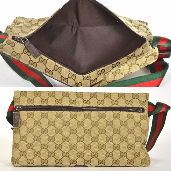 a243eb33278816 GUCCI/ Gucci / waist porch / unisex /GG pattern brown X beige 28566 bag [ used]