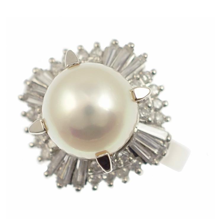 【中古】プラチナ900 パール&ダイヤモンドリング 0.78ct 指輪 サイズ11号 [送料無料]