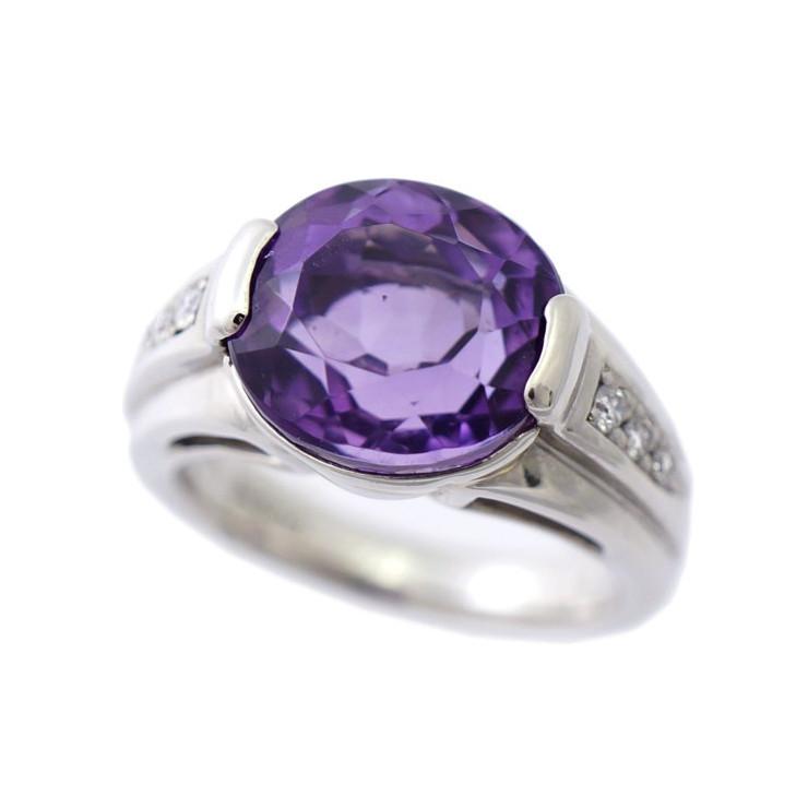 【中古】指輪 リング Pt900 アメジスト 5.08ct ダイヤモンド 0.09ct 8.5号 レディース ジュエリー プラチナ [送料無料]
