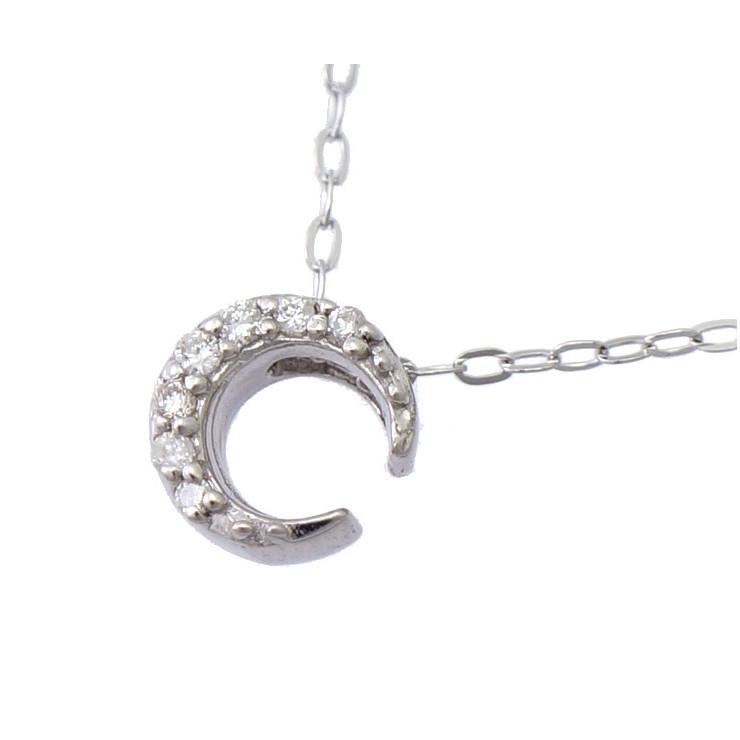 【中古】ネックレス ペンダント K18WG ダイヤモンド 0.05ct ホワイトゴールド 月 三日月 ムーン