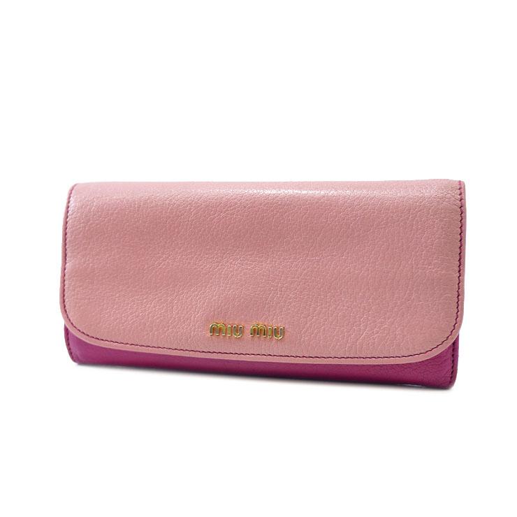 【中古】MIUMIU ミュウミュウ マドラス バイカラー 長財布 5M1109 ピンク 可愛い 【送料無料】