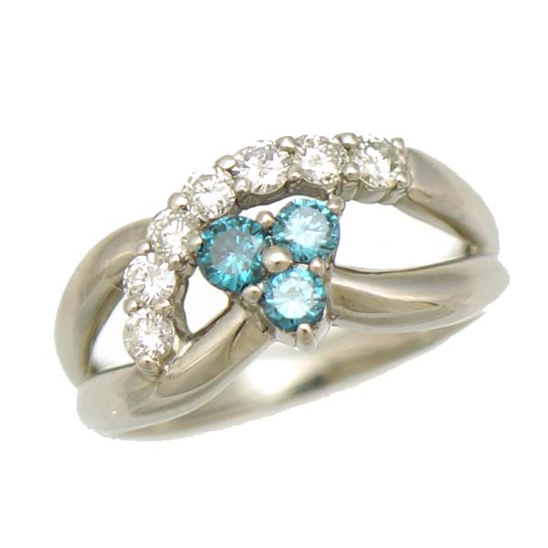 【キャッシュレス5%還元】【中古】リング 指輪 Pt900 ブルートパーズ ダイヤモンド 0.50ct 9号 ジュエリー レディース プラチナ [美品][送料無料]