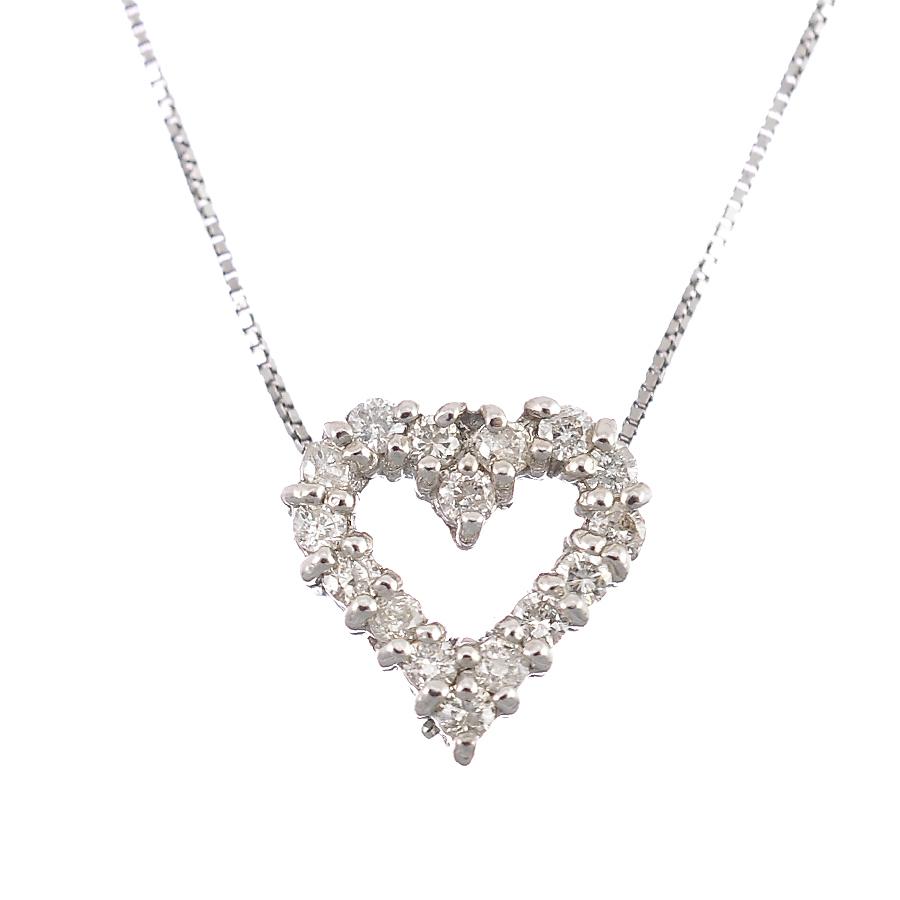 ペンダント ネックレス K18ホワイトゴールド ダイヤモンド 0 20ct ハート ジュエリー レディース送料無料美品RqjL4A53