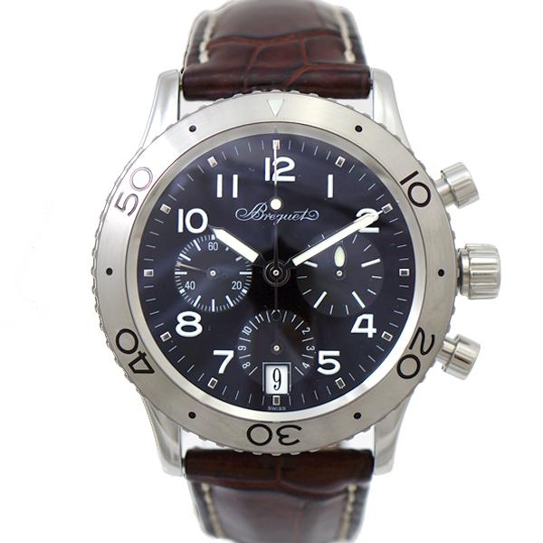 ブレゲ 腕時計 タイプXX トランスアトランティック 3820STH29W6 Breguet メンズ SS×レザー ブラック文字盤 オートマ 時計 【中古】【送料無料】