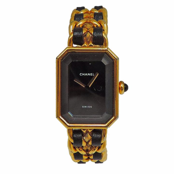 【中古】シャネル 腕時計 プルミエール サイズM レディース ゴールド×ブラック SS×レザー CHANEL [送料無料]
